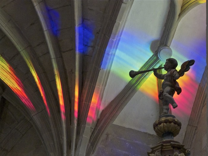 Church art made from solar spectrum rainbow light