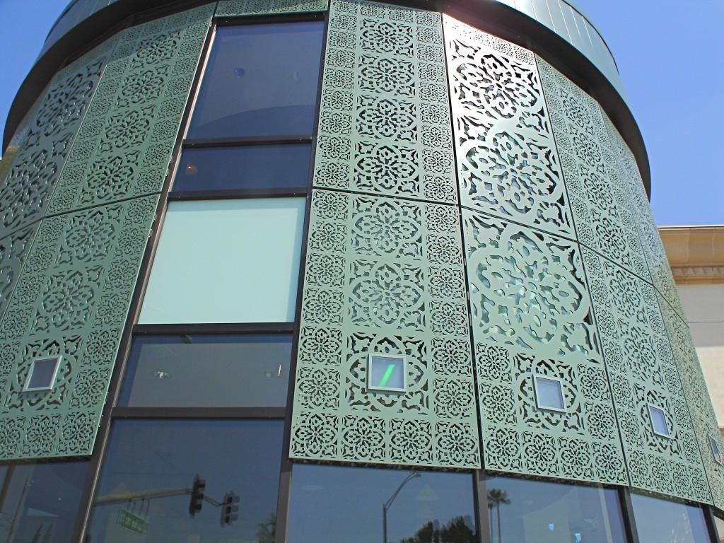 Fontana, CA, Library exterior of solar powered art installation. Erskine Solar Art