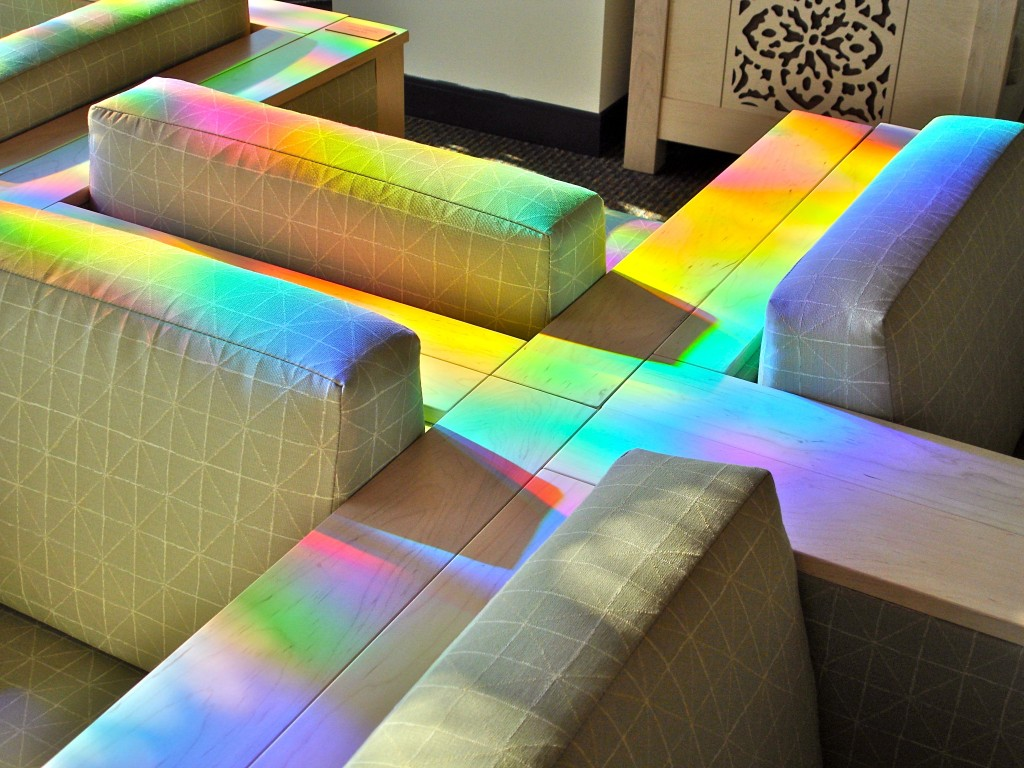 library sofa painted in solar powered art site specific installation.