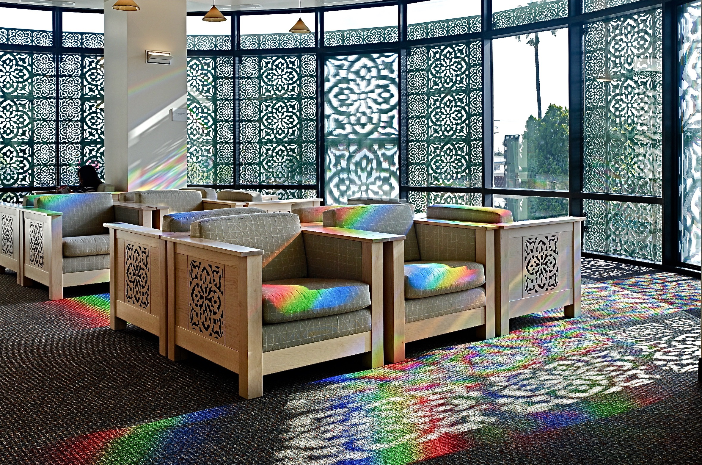 Solar powered art installation in a library.