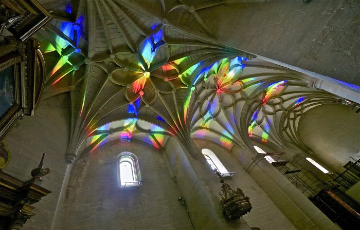 Church art made from rainbow light
