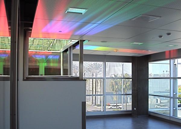 Officers Lounge, detail of rainbow light art colors on ceiling. Erskine Solar Art
